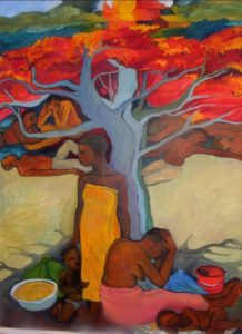 Art by Ruth Hartley: Painting in bright reds, oranges and yellows of African men and women in positions of grief around a flame tree