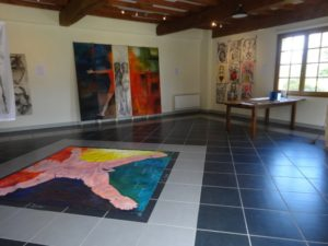 Art by Ruth Hartley: View of various paintings at the Corpus exhibition at La Peleyre Gallery, France