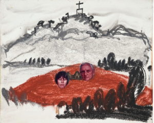 A rough drawing of a hill with a marker of its summit. Below is a red field and collaged onto it are two photos, one of a woman with her eyes shut and one of an old man.