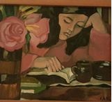 A brown vase with pale pink roses to the left of a young girl with dark hair engrossed in a book her fist on the page and her head propped on her other hand a brown coffee mug in front of her