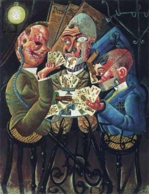One of Otto Dix's war paintings: An armless soldier uses his foot to play cards with two soldiers who have lost their legs. All three men have very damaged faces—one has a rubber tube to near his ear, another has a metal plate covering his lower jaw.