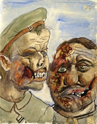 Close-up of two soldiers' faces with terrible scars and exposed teeth