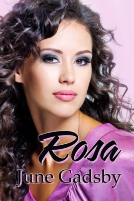 The cover of the book shows a lovely yong woman with long dark curling hair and the book title Rosa