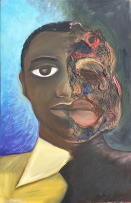 A portrait split down the middle - the left side shows a handsome black adolescent in a neat shirt. The right side shows him naked, his face pulped and his eye missing. The background is blue on the left and dark on the right