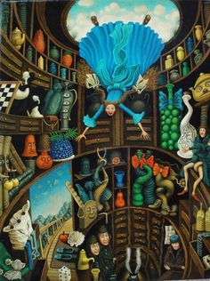alice in a blur dress falls headfirst into a hole lined with shelves on which are innumerable strange objects and creatues with eyes.