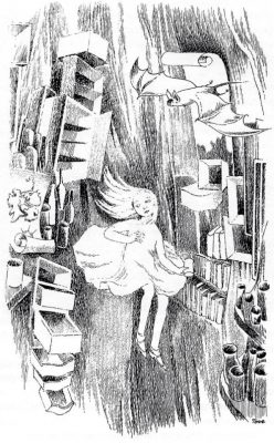 Black and white drawing of Alice floating down past a bat and cupboards with open drawers