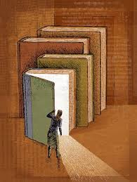 $ huge books lean against a wall. A small figure opens the cover of the nearest on to see light pour out of it