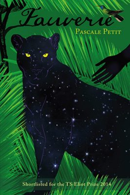 The cover of Fauverie shows a hand reaching out to a black panther in leafy greenery