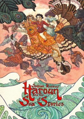 The book cover shows the boy Haroun on the back of a Hoopoe bird flying above the sea of stories