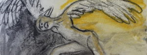 Art by Ruth Hartley: a part of a charcoal painting with some yellows showing an angel in pain