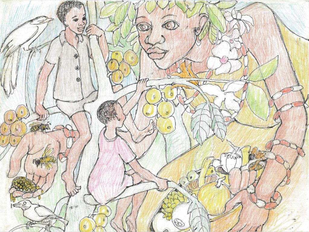 Rain Queen with children in tree