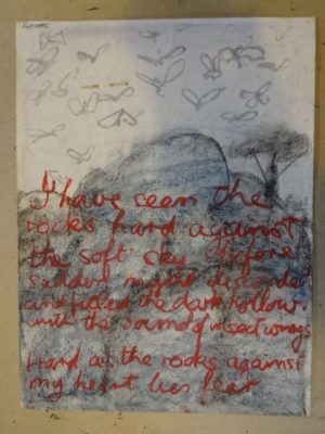 Charcoal sketch of grey granite rocks and tree with the sky above filled with flying insects and the words of the poem in red