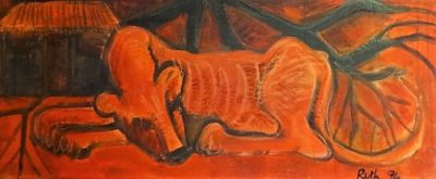 This red painting shows a lioness reating under a tree with her head on her paws. There is a hut in the background.