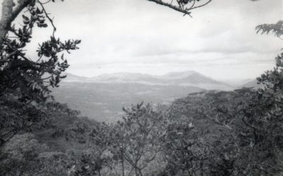 A black and white photo taken from among trees across a wide valley towards distant mountains