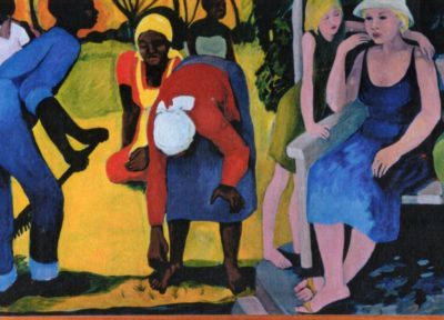 To the left of the painting are several African workers in a garden in the hot sun. To the right in the shade is a white woman with a young girl laening on her shoulder