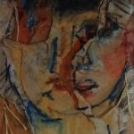 Torn papers painted with a portrait suggest emotional fragmentation