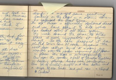 the open page of a guestbook covered with writing
