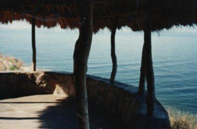A thatched verandah by the shore of Lake Kariba