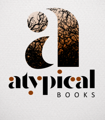 A large lower case a is coloured with a rusty orange and textured with bare branches. The words underneath say atypical books and the dots are rusty orange .