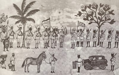 This simple formulaic drawing shows Von Voebeck on the left surrendering to the British on the right. The German askaris have boots, The British askaris are barefootThere is a palm tree and a horse on the German side and a flowring tree and official car on the British side.