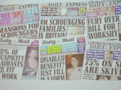 6 newspaper front pages claim that the majority of benefit claimants are scroungers or skivers