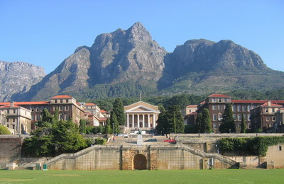 View of the upper campus of the University of Cape Town with mountains in the background.