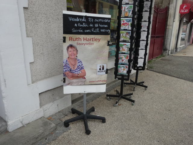 Ruth Hartley book launch promotional poster outside La Litote bookshop