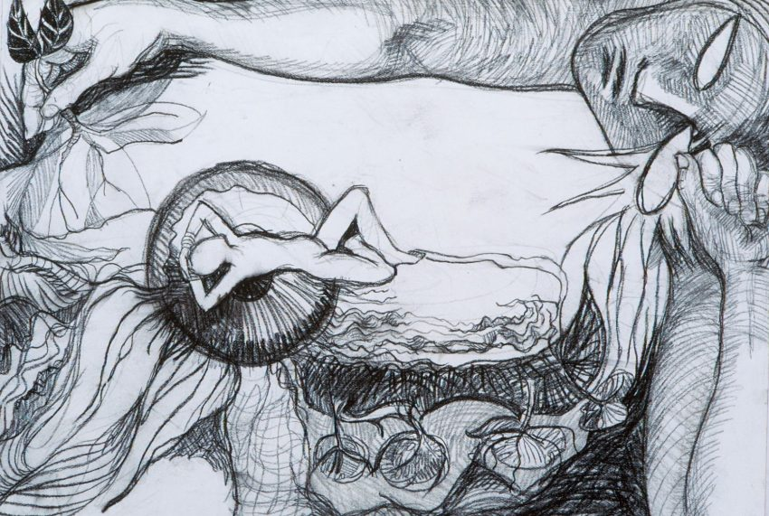 The drawing is framed on the top and right sides by 2 arms and a head. The eyes in the head are empty ovals looking towards a giant iris of an eye in which a figure rests on an upside down image of a lake and trees. The drawing is black and white charcoal.