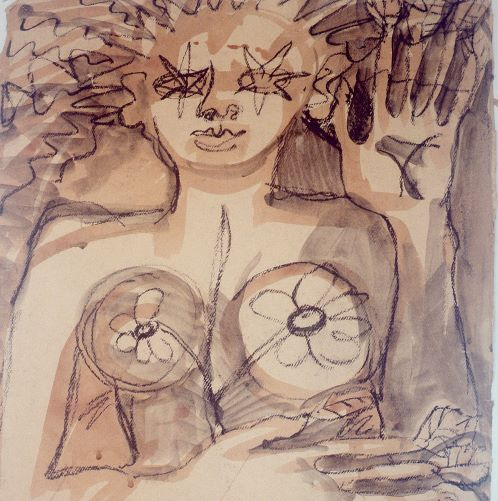 This black charcoal and brown watercolour wash depicts the top half of a naked woman with stars for eyes and hands with twigs and leaves for fingers.