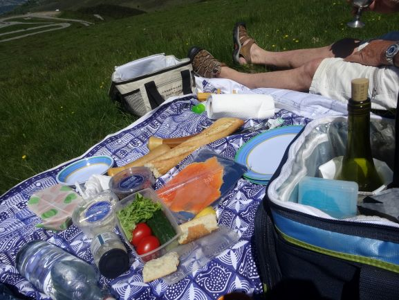 Image shows a picnic meal spread out on a blue and white table cloth. There is bread, water, smoked trout, salad ingredients, cheese and wine