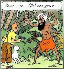 The drawing from a Tintin comic book shows Tintin and his dog Snowy confronting the Fakir who is hypnotising Tintin into a trance with the power of his eyes.